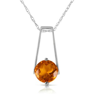1.45 CTW 14K Solid White Gold Smooth Love Citrine Necklace