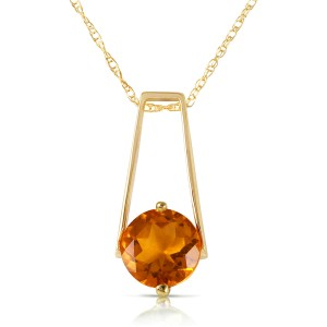 1.45 CTW 14K Solid Gold Privacy Citrine Necklace