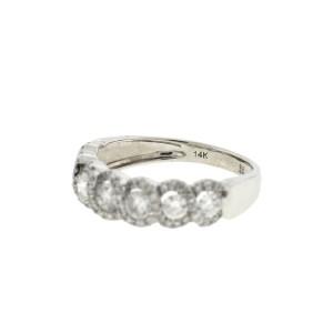 14k White Gold Twist Style Diamond Band Ring 1 Ct