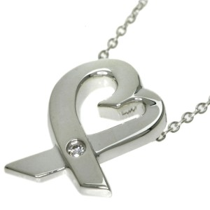 Tiffany & Co. 925 Sterling Silver with Diamond Loving Heart Necklace