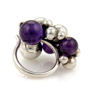 Sterling Silver Amethyst Ring Size 6.5