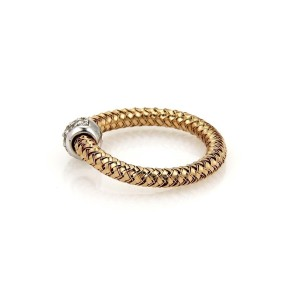 Roberto Coin Primavera 8K White Gold Diamond Ring Size 6.25