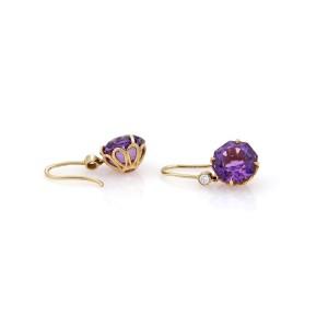Tiffany & Co. Sparklers 18K Rose Gold Amethyst, Diamond Earrings