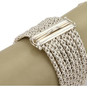 Tiffany & Co. Sterling Silver & 14k Gold 9 Strand Rope Chain Wide Bracelet