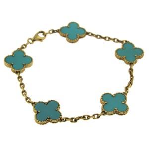 Van Cleef & Arpels 18K Yellow Gold Turquoise Bracelet
