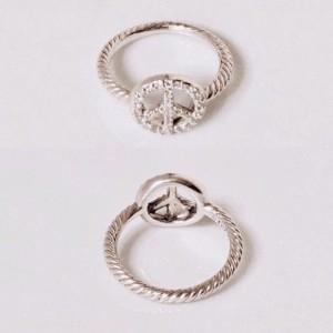 David Yurman Peace Sign Sterling Silver Diamond Ring Size 5.5