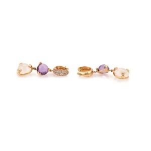 Pasquale Bruni 192668425766-E 18K Rose Gold Diamond, Amethyst Earrings