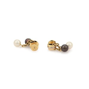 Cartier 192669073130-E 18K Yellow Gold Cultured Pearl Earrings