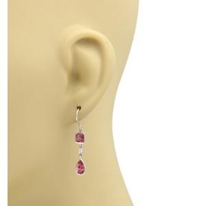 Tiffany & Co. 18K White Gold Diamond and Pink Tourmaline Hook Dangle Earrings