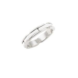 Chanel 18K White Gold Ceramic Ring Size 7.5
