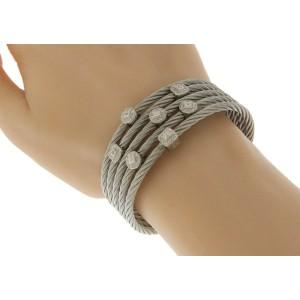 Charriol 18k White Gold Stainless Steel 0.60ctw. Diamond Bracelet