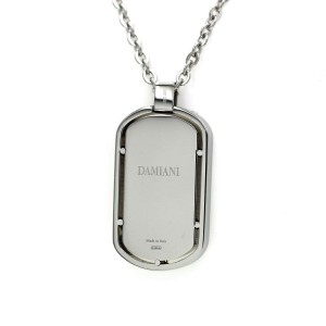 Damiani Stainless Steel & 18K Gold Diamond Dog Tag Pendant Necklace Size 20