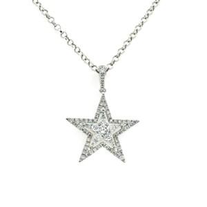 "0.47 CT Diamonds 14K White Gold Star Pendant Necklace Size 16"""