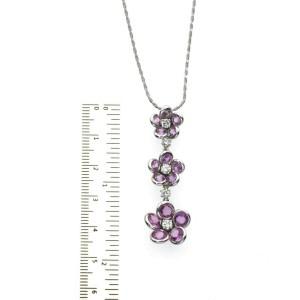"0.63 CT Diamonds 5.68 CT Pink Sapphire 14K White Gold Flower Necklace 16"""