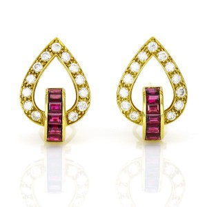 1.82 Carat 18k Yellow Gold Diamond Ruby Earrings