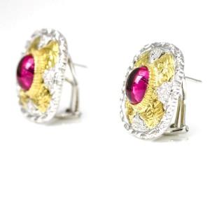 4.56 Carat 18 Karat Gold Pink Tourmaline Diamond Earrings