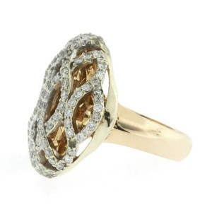 1.62 CT Diamonds in 18K Rose Gold Diamond Cut Plate Waves Dome Ring