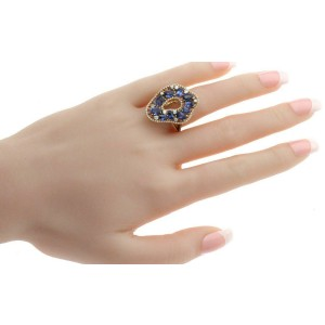3.10 CT Sapphires & 0.61 CT Diamonds in 18K Rose Gold Engagement Ring