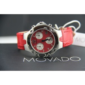 MOVADO SWISS CHRONOGRAPH QUARTZ WATCH 84C51892 CORAL ALLIGATOR
