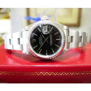 Ladies Rolex Oyster Perpetual Datejust Black Dial Fluted Bezel 26mm Watch