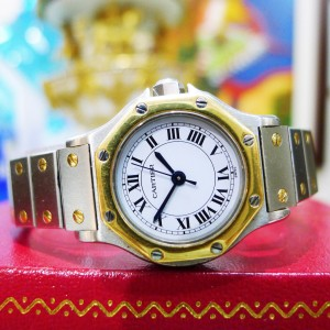 Cartier Santos Octagon Steel 18K Gold Date Automatic 25mm Ladies Watch