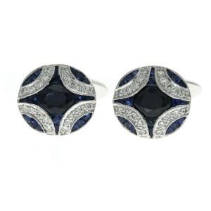 1.34 CT Natural Sapphire & 0.18 CT Diamonds in 18K White Gold Cufflinks
