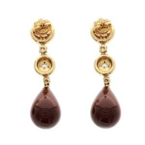 27.46 CT Natural  Carnelian & 0.86 CT Diamonds in 18K Rose Gold Drop Earrings