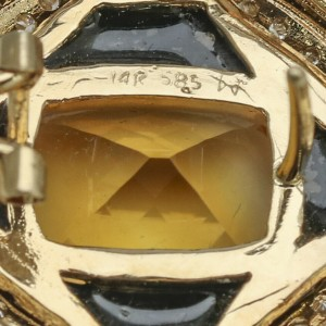 14k Yellow Gold Citrine Onyx Diamond Stud Earrings