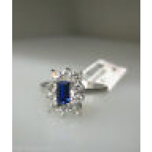 18K WHITE GOLD SAPPHIRE LADIES RING SIZE 7.25