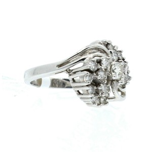 14K WHITE GOLD 1.0ct DIAMOND CLUSTER LADIES RING SIZE 5.5