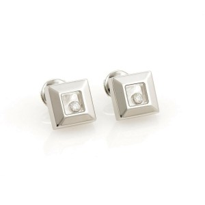 Chopard Happy Diamond Square Shape Stud 18k White Gold Earrings