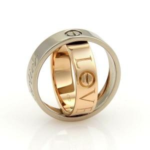 Cartier Astro Secret Love 18k Rose & White Gold 5.5mm Band Ring Size 52