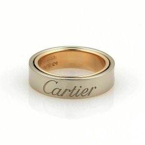 Cartier Astro Secret Love 18k Rose & White Gold 5.5mm Band Ring Size 52