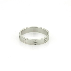 Cartier Mini Love 18k White Gold 3.5mm Band Ring Size 5.75