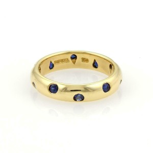 Tiffany & Co. Etoile Sapphire 18k Yellow Gold 4mm Wide Band Ring Size 5