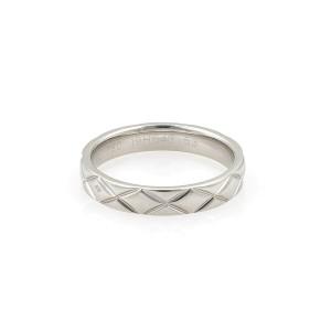 Chanel Matelasse 18k White Gold 3.5mm Band Ring Size 53 US 6.5