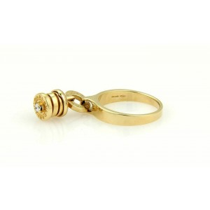 Bulgari B.zero1 Diamond 18k Yellow Gold Drop Charm Band Ring Size 6.5