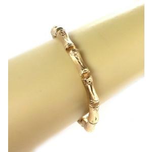 Estate 14k Yellow Gold Flex 11 Long Bamboo Links Bracelet