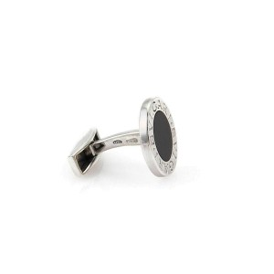 Bvlgari Sterling Silver Cufflinks With Black Onyx