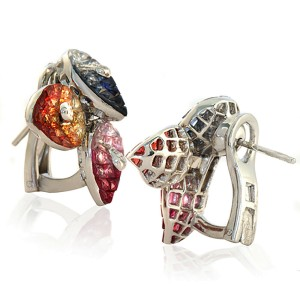 18K White Gold 0.20 CT Diamonds & 17.40 CT Multi Sapphire Flower Earring »E2912
