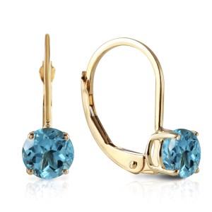 1.2 CTW 14K Solid Gold Iris Blue Topaz Earrings