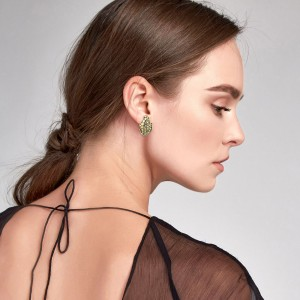 John Hardy Dot Ayu Leaf Earrings in 18k Gold and Sterling Silver