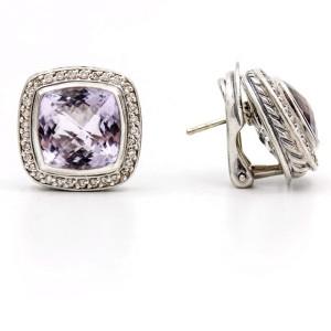 David Yurman Sterling Silver Amethyst Diamond Albion Stud Earrings