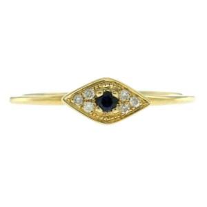 Auth Sydney Evan 14k Yellow Diamond Blue Sapphire Evil Eye Ring Size 6