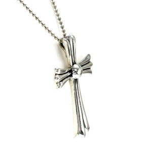 "Auth Chrome Hearts 925 Sterling Silver Large Cross Necklace Size 22"" »U112"