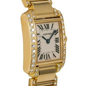 Cartier Tank Francaise 2385 WE1001RG Womens 18kt Gold Quartz Watch 3.6CT 22mm