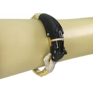 Estate Dimond Onyx 18k Two Tone Gold Panther Door Knocker Bangle Bracelet