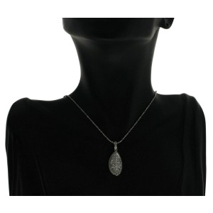 "14K White Gold 3.20 CT Round & Princess Diamonds Slice Pendant Necklace 16"""