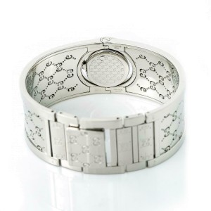 Gucci Twirl 112 Womens Quartz Watch Bronze Dial Bangle Stainless Steel 16mm