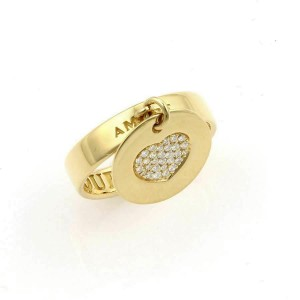 PASQUALE BRUNI AMORE 18K YELLOW GOLD DIAMOND HEART CHARM RING